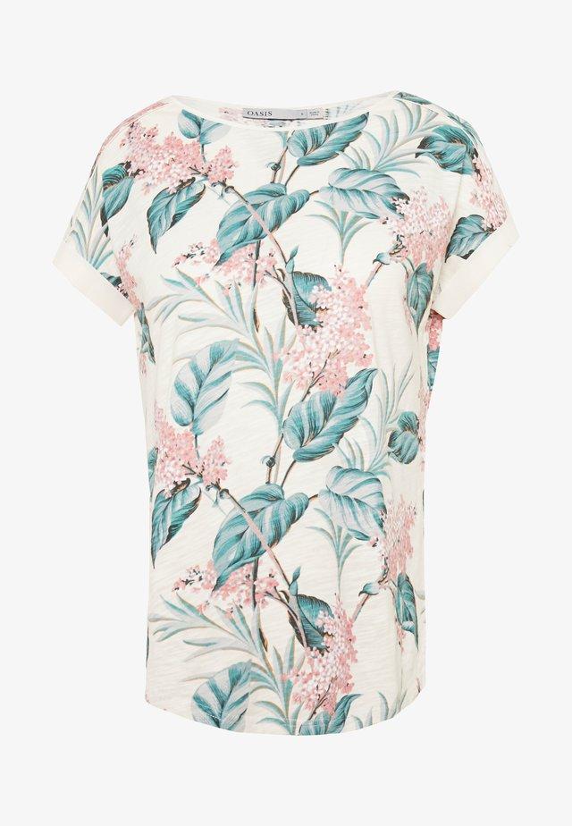 LARGE KIANA ALOHA FLORAL SLUB TEE - T-shirts print - multi/white