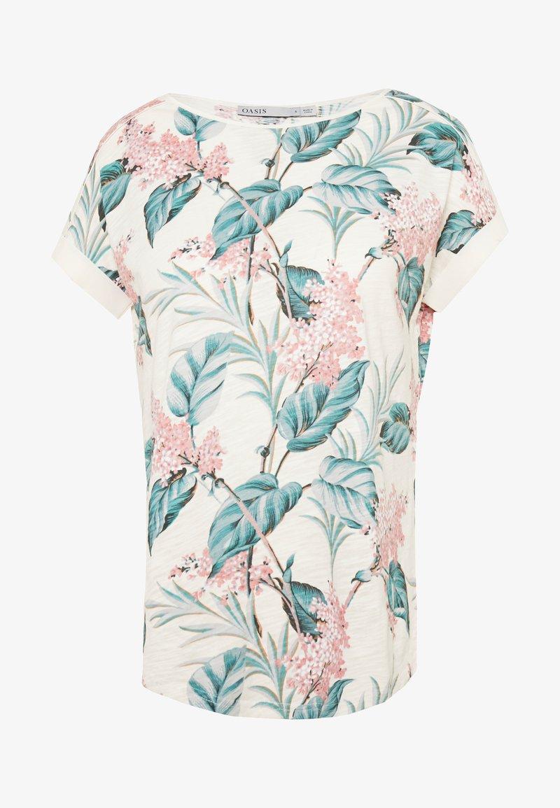 Oasis - LARGE KIANA ALOHA FLORAL SLUB TEE - T-shirts print - multi/white