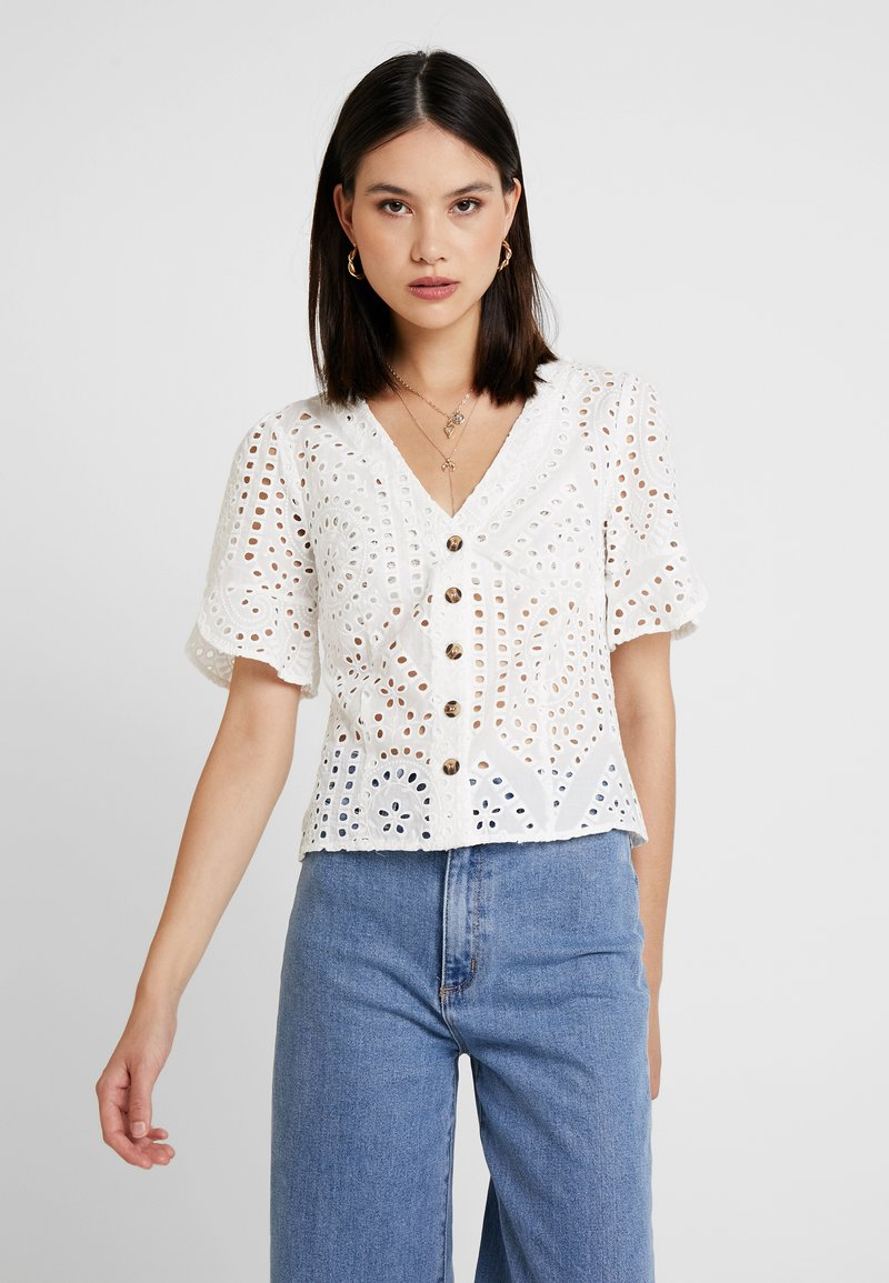Oasis - BRODERIE BUTTON THROUGH - Bluse - white