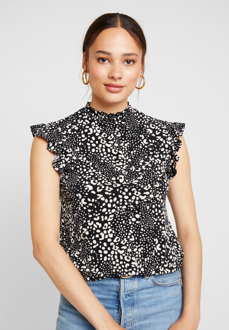 Oasis - PATCHED ANIMAL SHEERED NECK SHELL - T-Shirt print - black