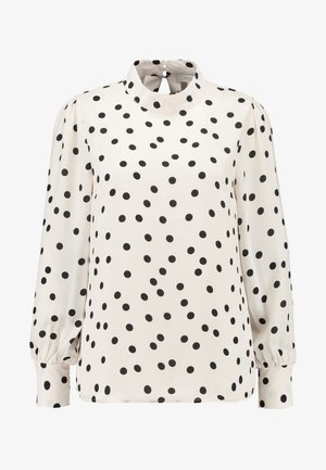 SPOT BALLOON HIGH NECK - Blouse - black/white
