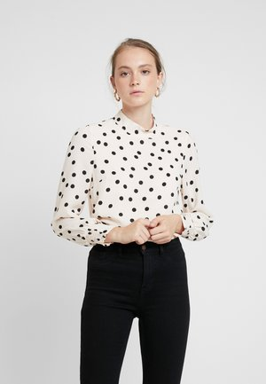 SPOT BALLOON HIGH NECK - Bluse - black/white