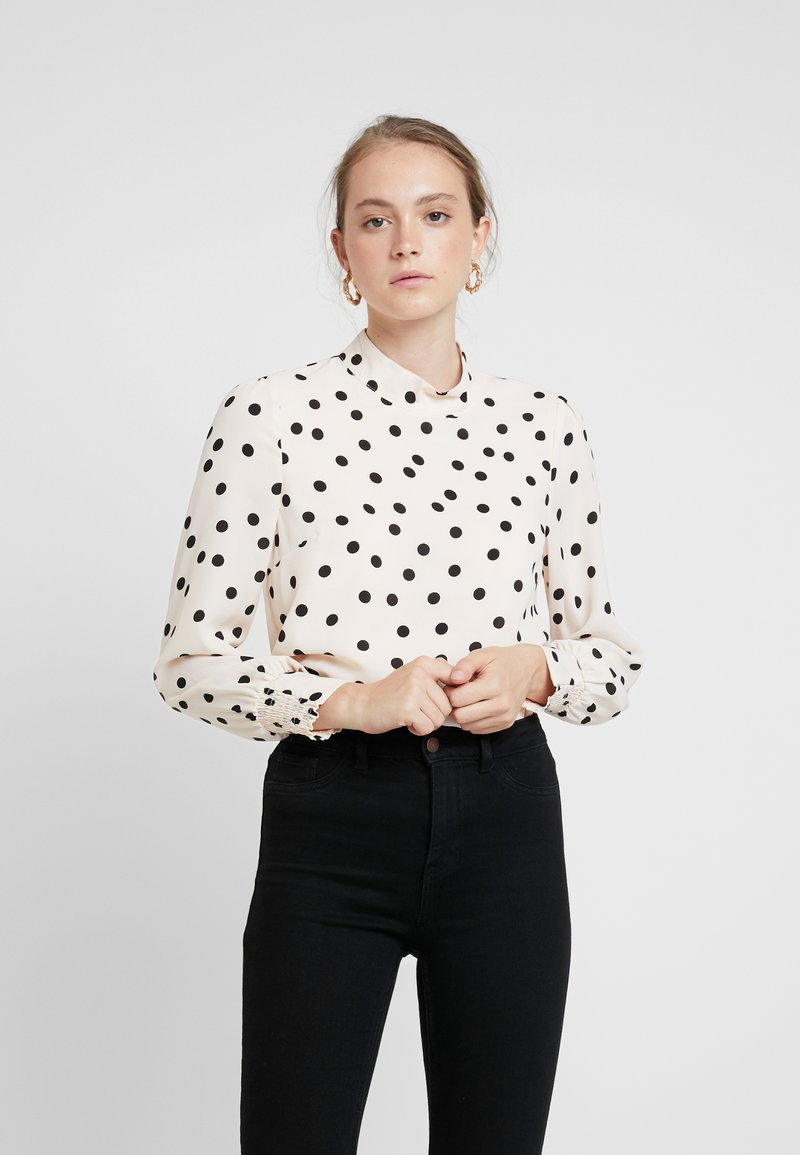Oasis - SPOT BALLOON HIGH NECK - Blouse - black/white