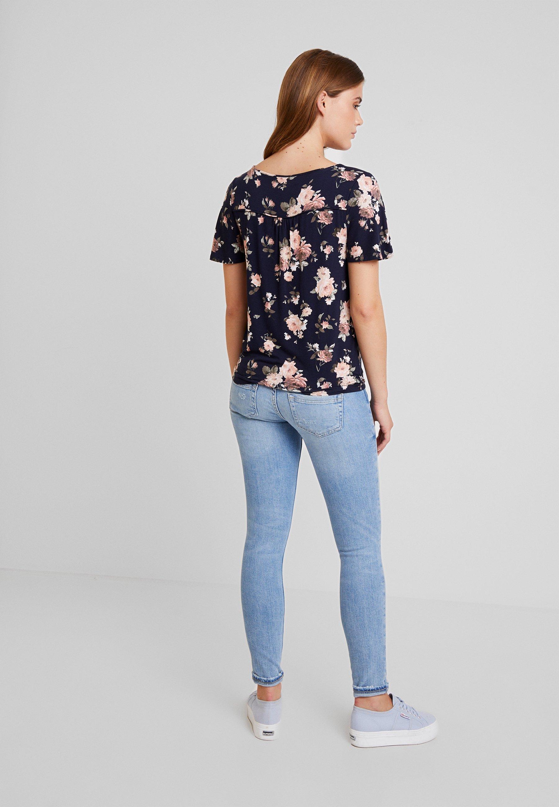 Rose shirt Multi Button Oasis Tie Imprimé blue FrontT Thru 8Pk0Onw