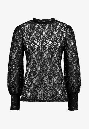 SHEERED NECK LONG SLEEVE - Blouse - black