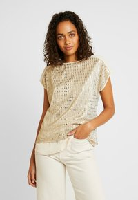 Oasis - SEQUIN TEE - Bluse - gold - 0