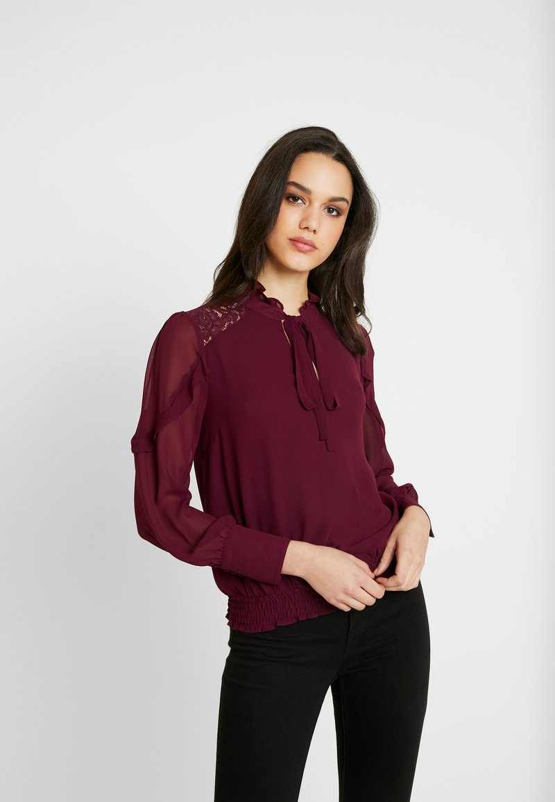 Oasis - TRIM PUSSY BOW - Blouse - burgundy