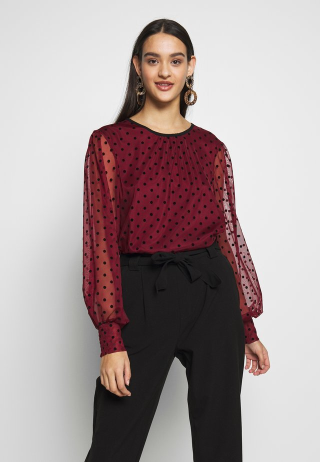 FLOCKED SPOT BLOUSE - Bluzka - burgundy