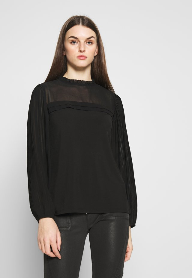 PLEAT PLAIN BLOUSE - Bluzka - black