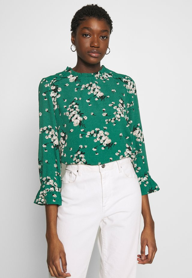 BLOSSOM FLORAL FLUTE SLEEVE - Bluzka - multi green