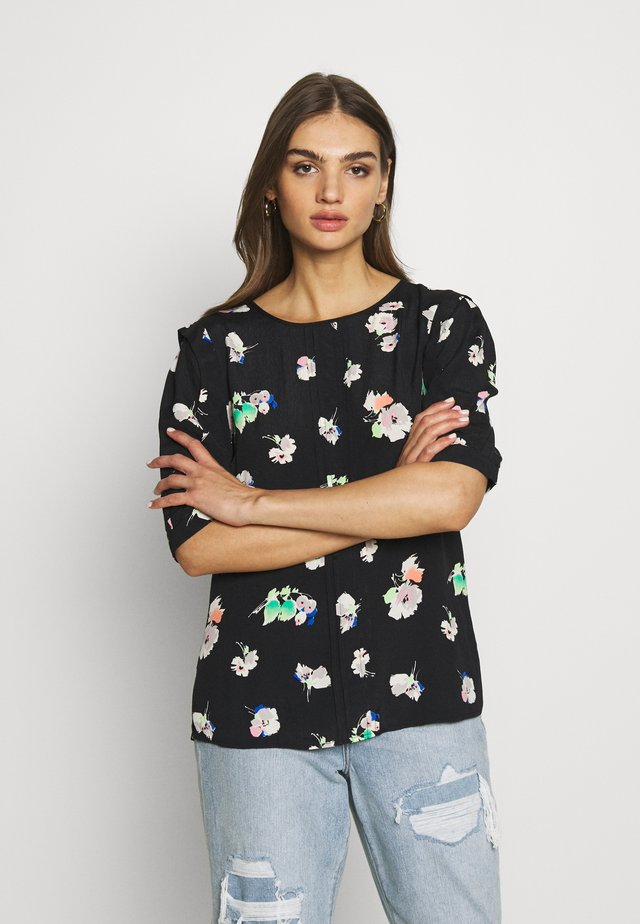 POP FLORAL SLEEVE TOP - Bluzka - black