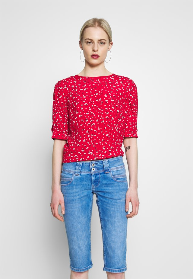 DITSY HEART TUCK SLEEVE - Pusero - mid red