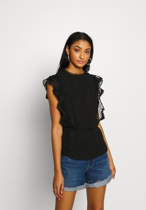 DOBBY MIX SHELL - Blouse - black