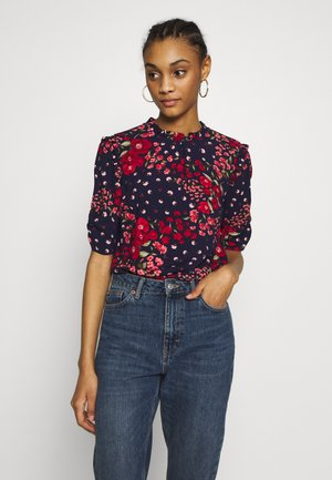 FLORAL RUCHED SLEEVE TEE - Blouse - blue