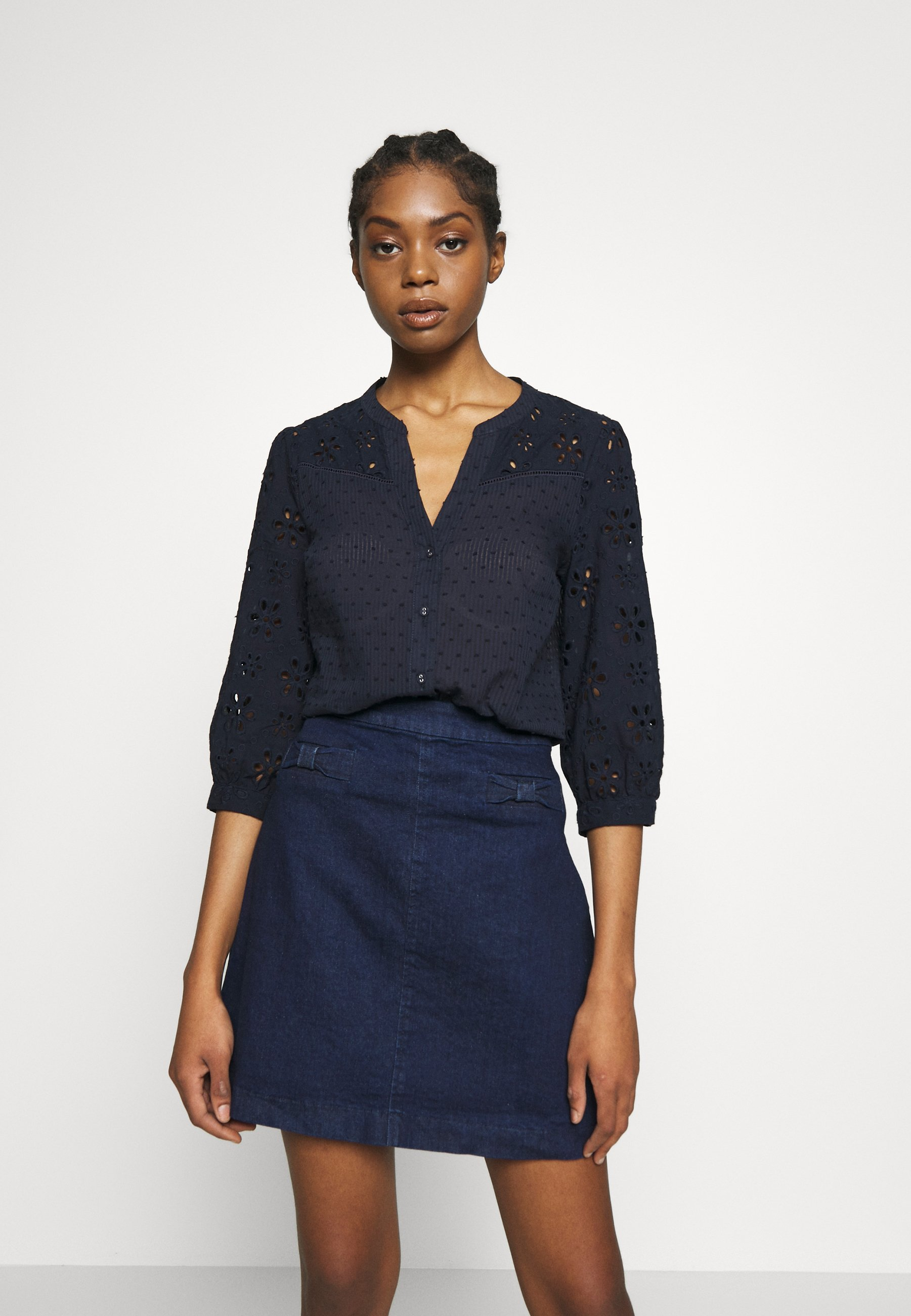 Oasis BROIDERIE SLEEVED - Bluzka - navy