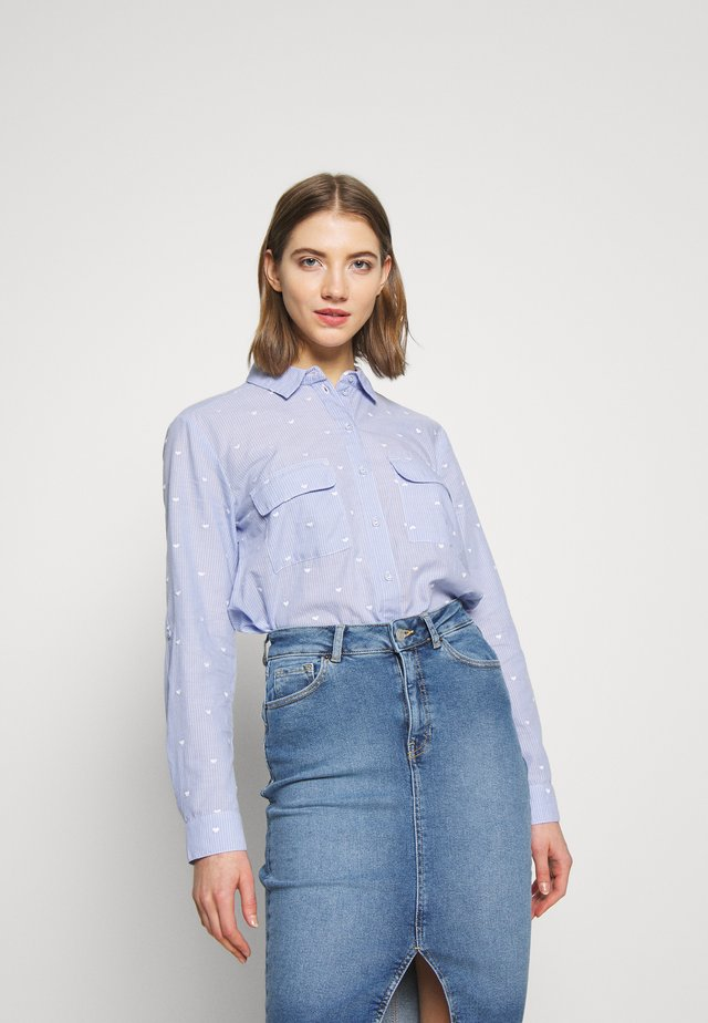 EMBROIDERED HEART STRIPE SHIRT - Bluzka - multi blue