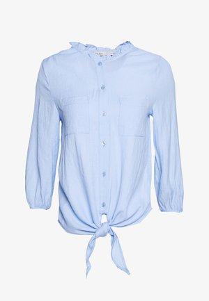 RUFFLE TIE FRONT - Blouse - light blue