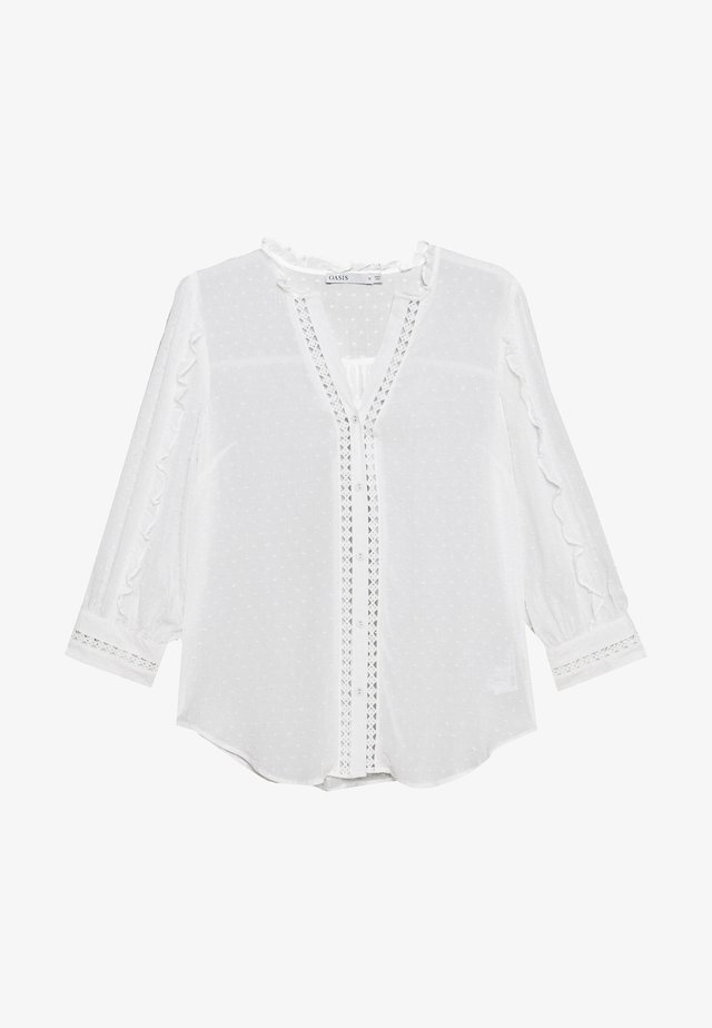 TRIM DOBBY RUFFLE SLEEVE - Bluzka - off white