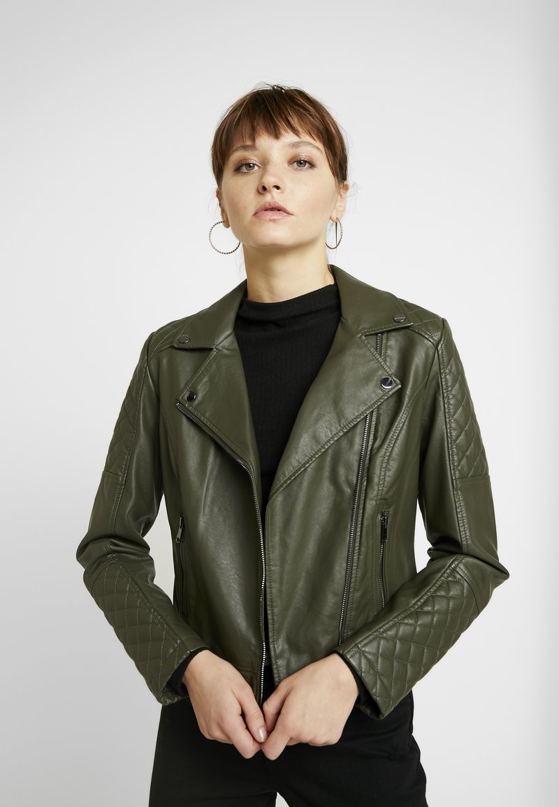 Oasis - QUILTED BIKER - Faux leather jacket - khaki