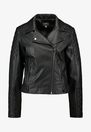 QUILTED BIKER - Giacca in similpelle - black