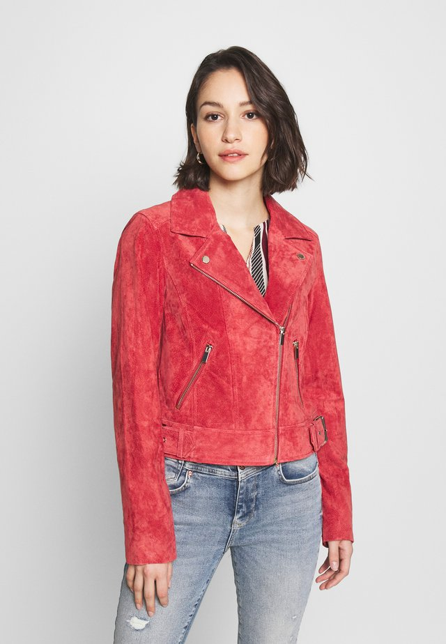 BIKER - Kožená bunda - mid pink