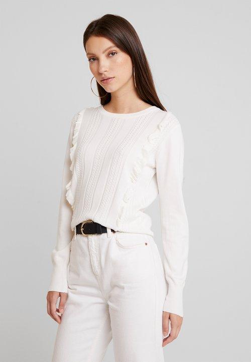 Oasis FRANCESCA FRILL CABLE - Sweter - white Odzież Damska LNNL-JY9 tani