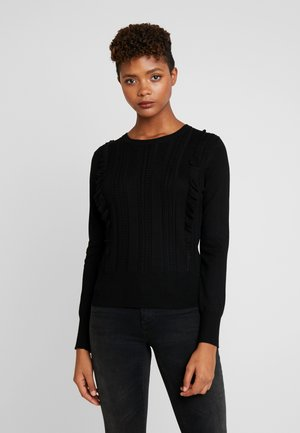 FRANCESCA FRILL CABLE - Strickpullover - black