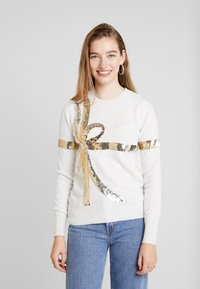 Oasis - BOW SEQUIN XMAS JUMPER - Pullover - pale grey - 0