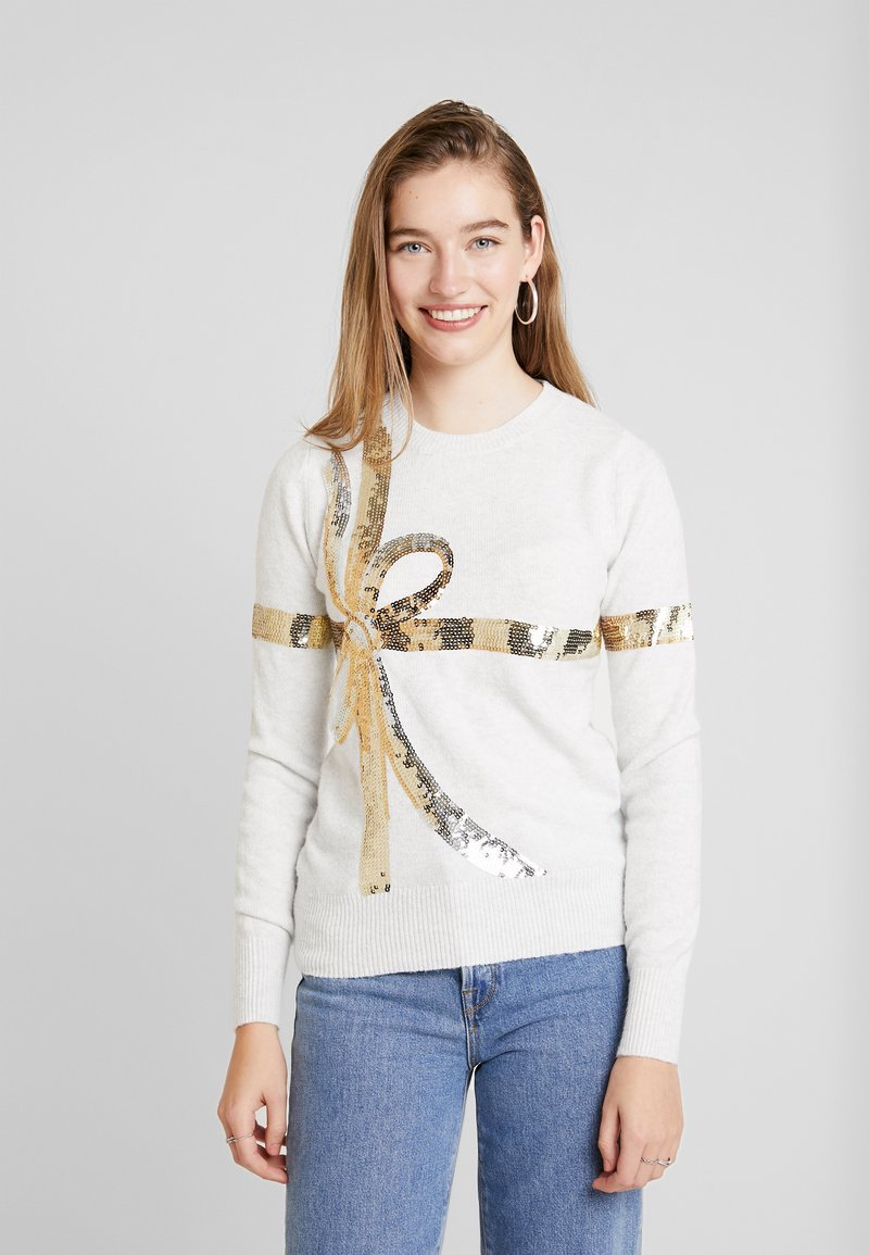 Oasis - BOW SEQUIN XMAS JUMPER - Pullover - pale grey