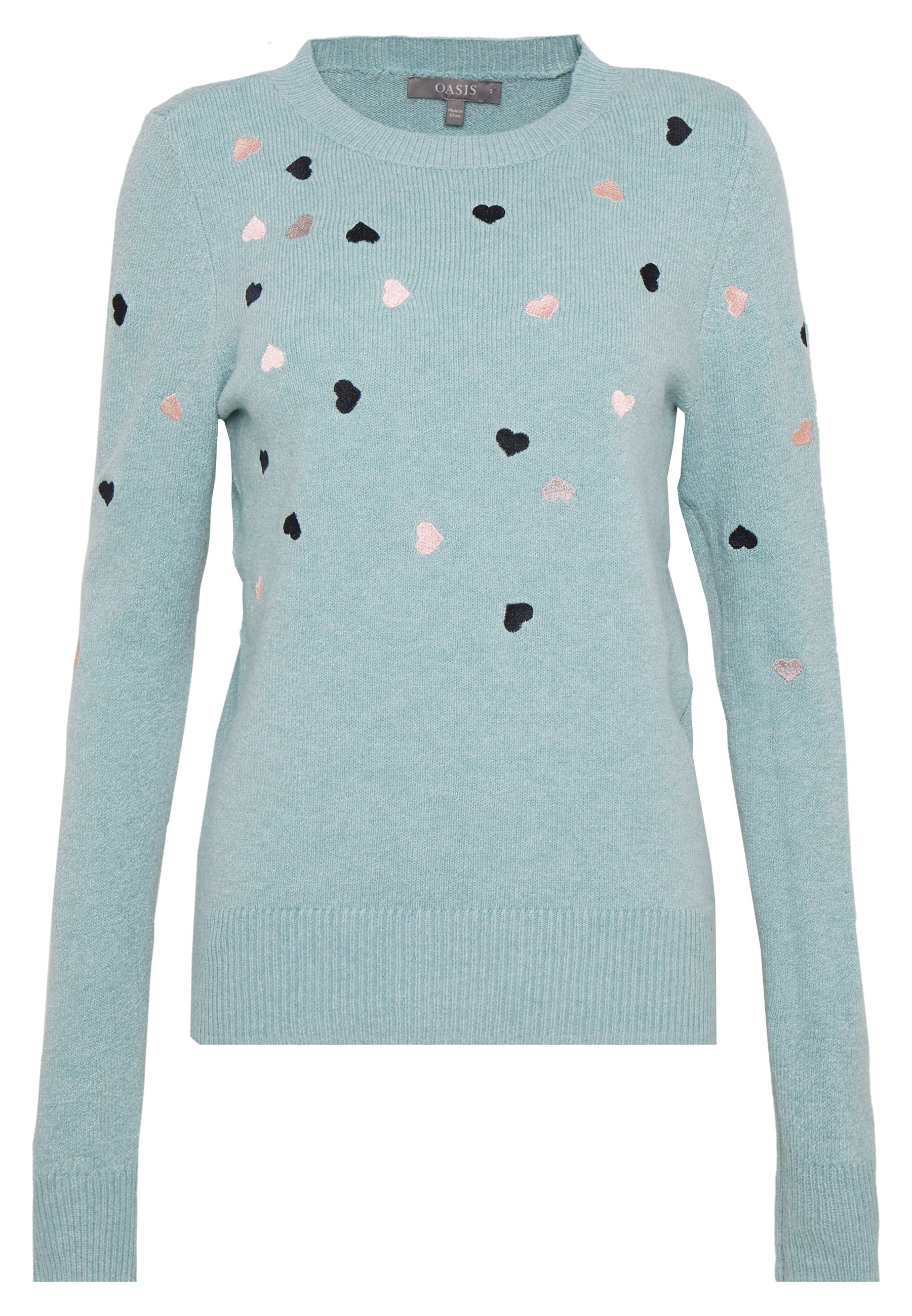 Oasis EMBROIDERED COSY JUMPER - Jersey de punto - ether