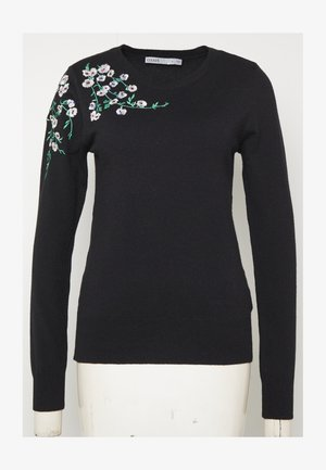 EMBROIDERED JUMPER - Sweter - black