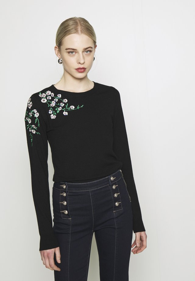 EMBROIDERED JUMPER - Svetr - black