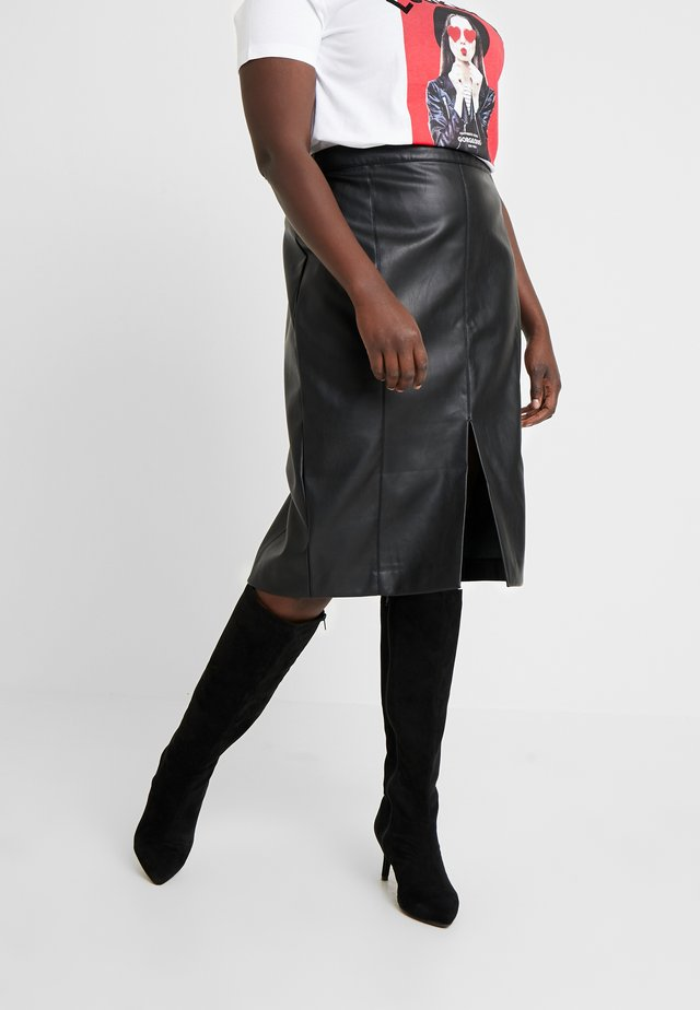 SPLIT FRONT PENCIL SKIRT - Pencil skirt - black