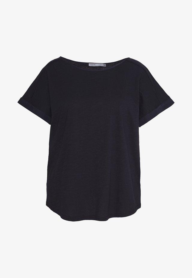 ROLL SLEEVE SLUB TEE - T-shirt - bas - navy
