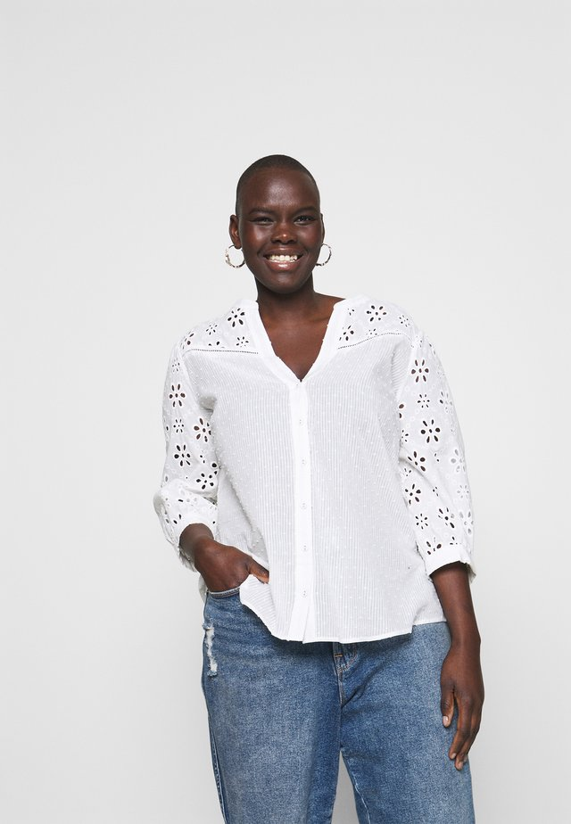 BROIDERIE SLEEVED - Blus - white
