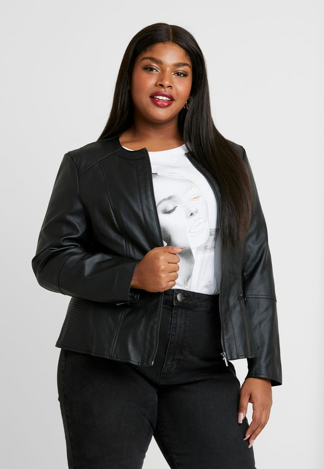 COLLARLESS JACKET - Faux leather jacket - black