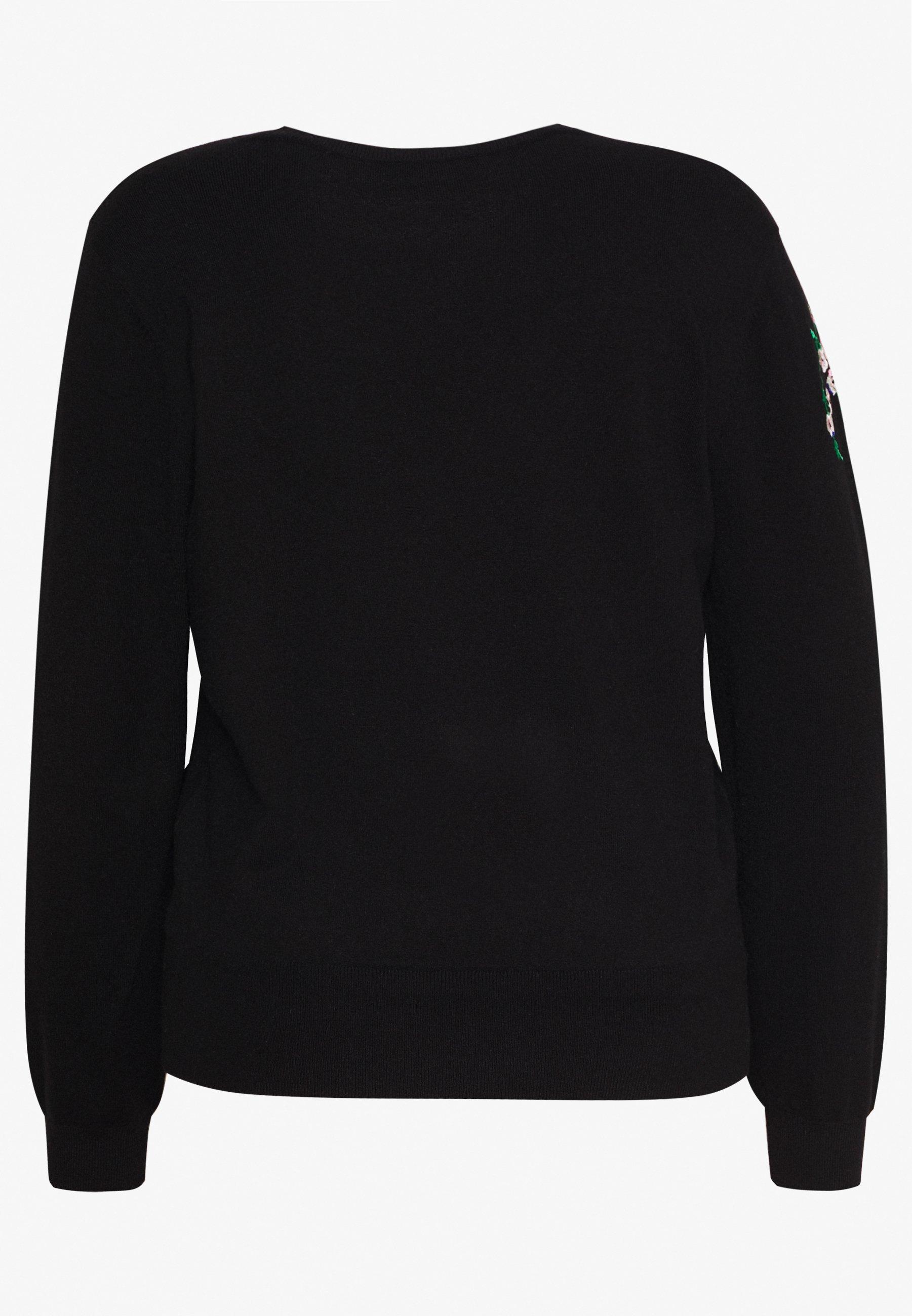 Oasis Curve Edie Embroidered Jumper - Strikpullover /striktrøjer Black