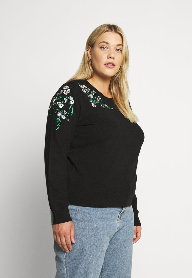 EDIE EMBROIDERED JUMPER - Jumper - black