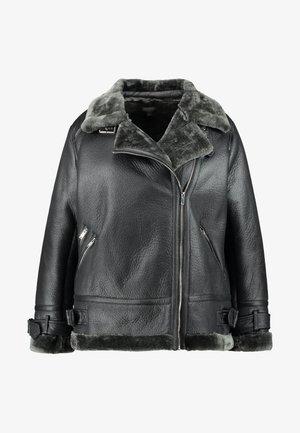 FAUX SHEARLING BIKER - Zimní kabát - black