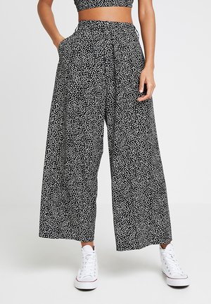 ALMA CROPPED PANT - Bukse - black/white