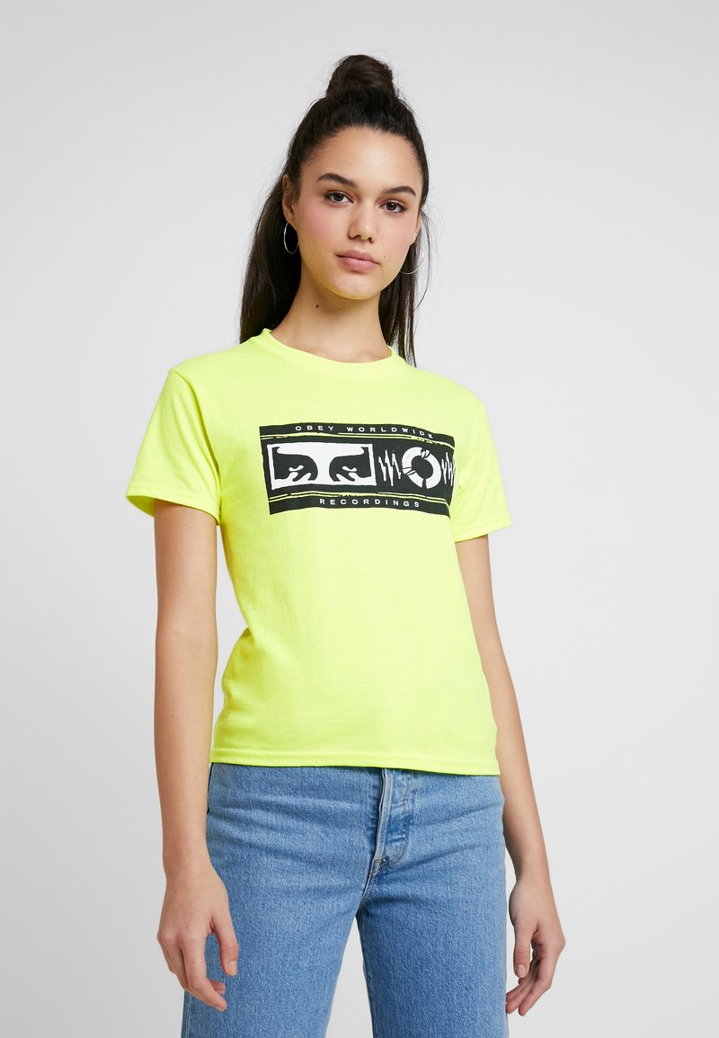 Obey Clothing - WORLDWIDE RECORDINGS - T-Shirt print - saftey green
