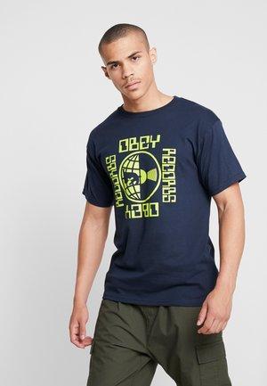 WORLDWIDE RECORDS - Camiseta estampada - navy