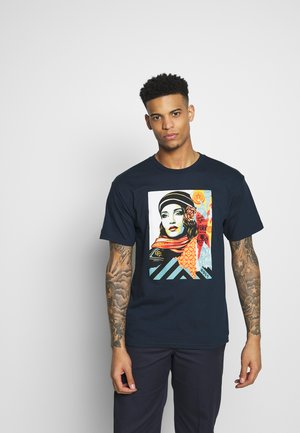 OBEY FIRE - T-shirt con stampa - navy