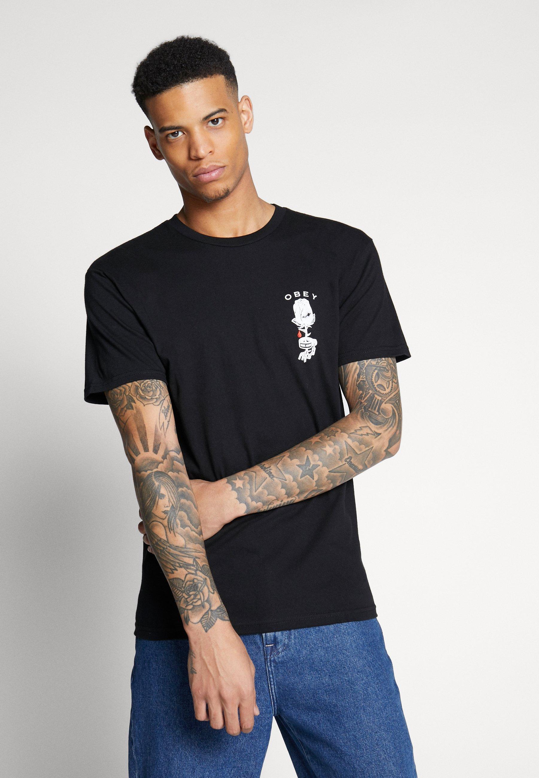 Obey Clothing ROSE SHACKLE - T-shirt z nadrukiem - black