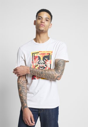 FACE COLLAGE - T-shirt med print - cream