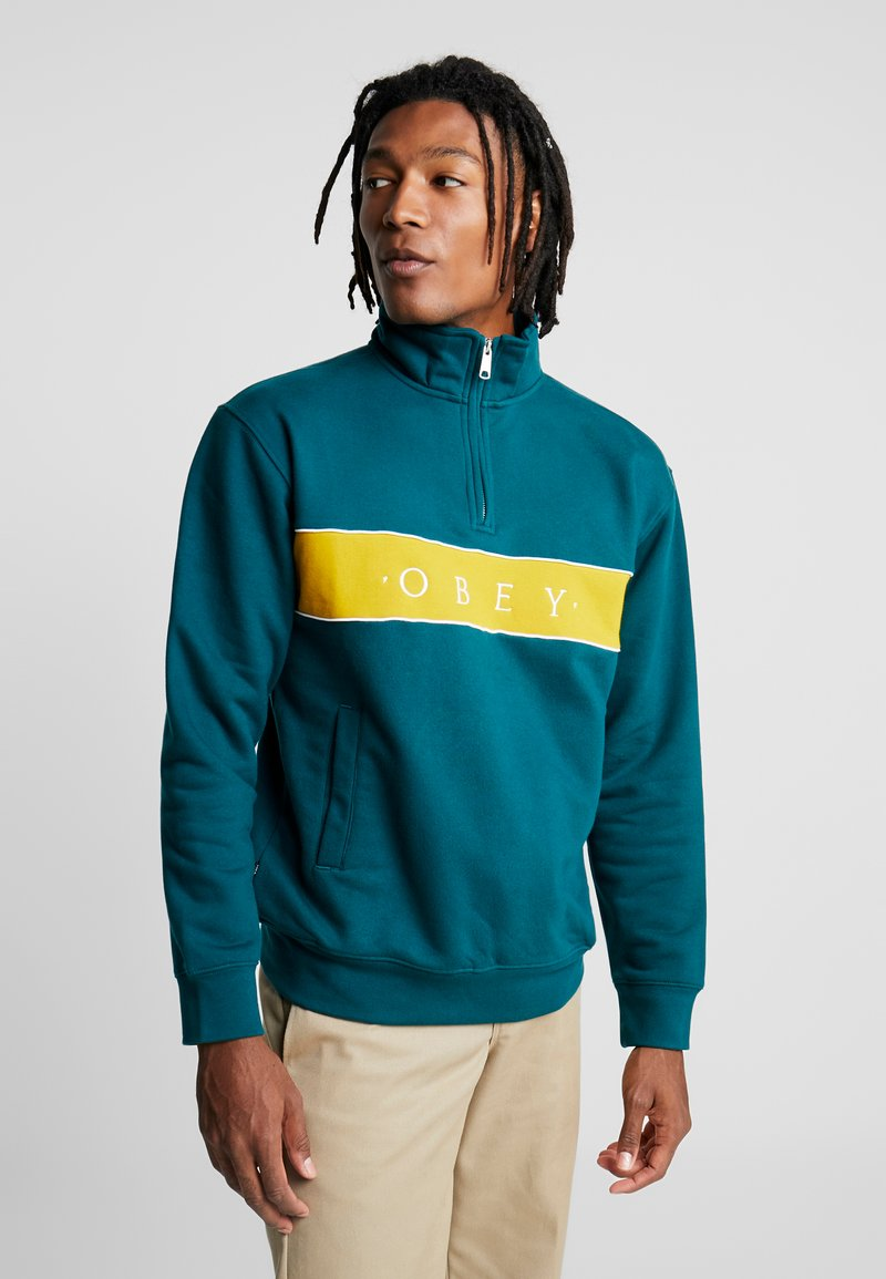 Obey Clothing - DEAL MOCK NECK - Collegepaita - deep teal multi