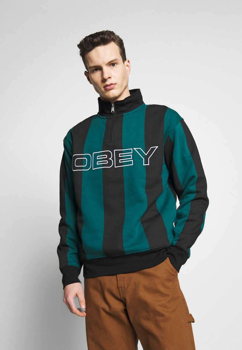 Obey Clothing - GOAL ZIP MOCK NECK - Sudadera - deep teal/multi