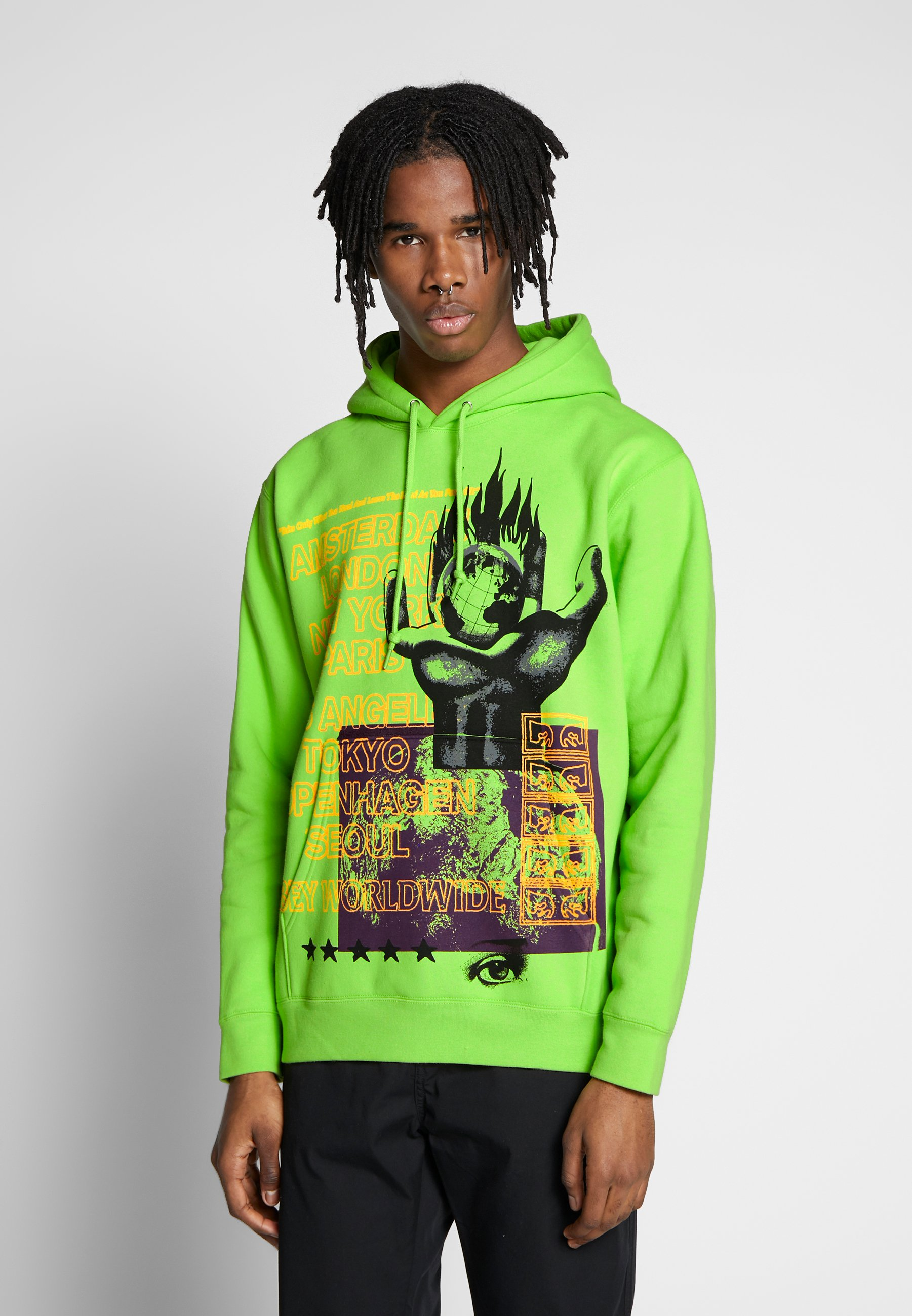 Obey Clothing OUR PLANET - Bluza z kapturem - bright lime