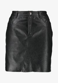 Object - OBJKASANDRA SKIRT - Falda de cuero - black - 4