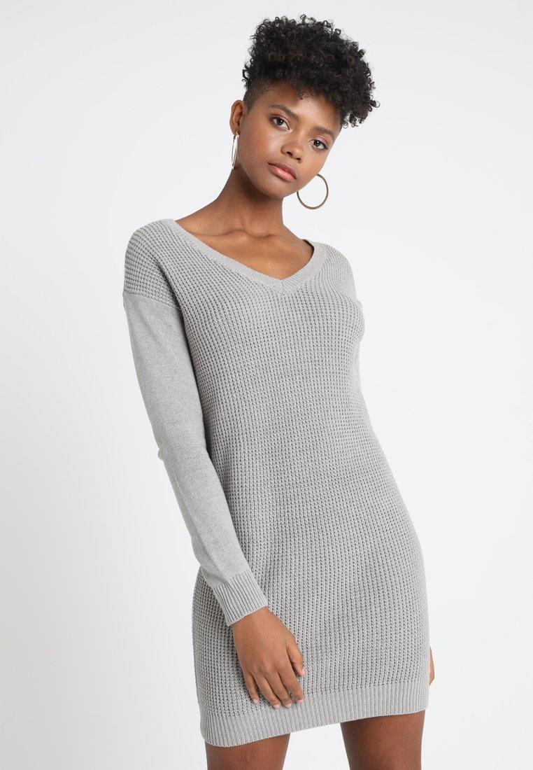 Object - OBJDEAH DRESS - Pletené šaty - light grey melange